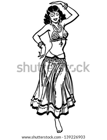 Belly Dancer - Retro Clip Art Illustration