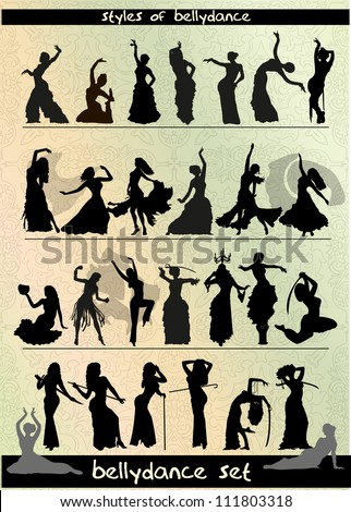 belly dancing style, vector silhouette set