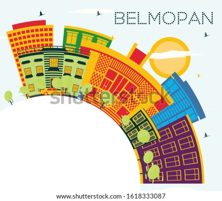 Belmopan Belize City Skyline with Color Buildings, Blue Sky and Copy Space. Vector Illustration. Business Travel and Tourism Concept with Modern Architecture. Belmopan Cityscape with Landmarks.