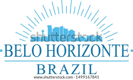 Belo Horizonte Brazil City. Banner Design. City Skyline. Silhouette Vector. Famous Monuments.