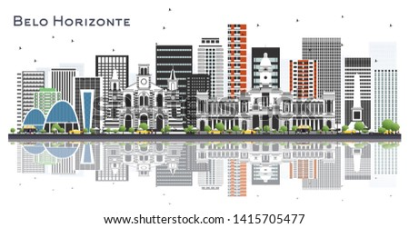 Belo Horizonte Brazil City Skyline with Color Buildings Isolated on White. Vector Illustration. Business Travel and Tourism Concept with Historic Architecture. Belo Horizonte Cityscape with Landmarks.