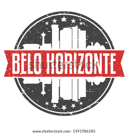 Belo Horizonte Brazil Round Travel Stamp. Icon Skyline City Design. Seal Tourism.