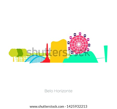 Belo Horizonte (Minas Gerais/ Brazil) skyline. Vector illustration of tourist spots in Belo Horizonte as Pampulha Church, Mineirao Stadium, Guanabara Park, Niemeyer Building, etc.