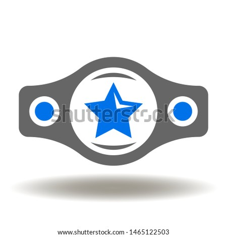 Belt Star Champion Boxing Icon Vector. Champion boxing reward logo.