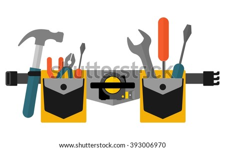 Belt with tools.Conceptual image of  tools for repair, construction and builder. Concept image of work wear. Cartoon flat vector illustration. Objects isolated on a background.