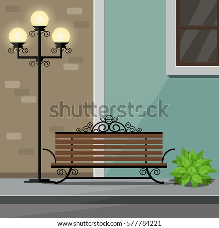 bench and street light on