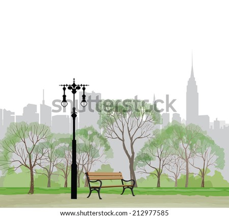 bench and streetlight in park...