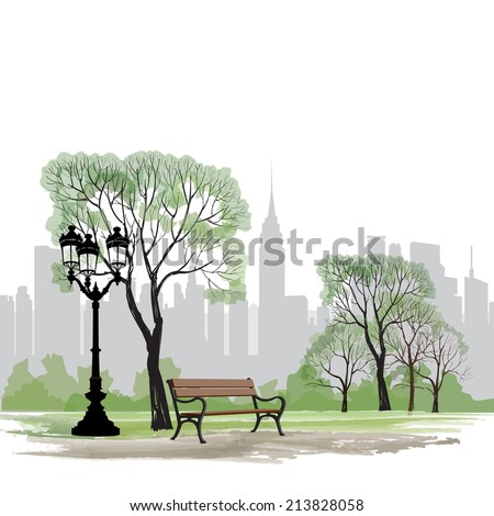 Bench and streetlight in park over city background.  Landscape of Central Park in New York. USA.