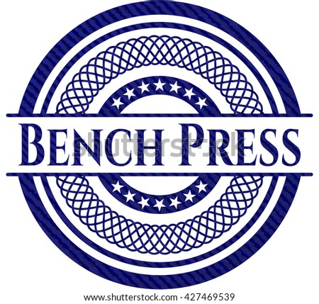 Bench Press emblem with denim texture