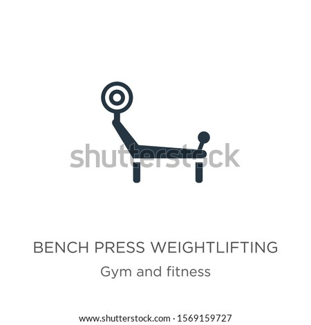 Bench press weightlifting icon vector. Trendy flat bench press weightlifting icon from gym and fitness collection isolated on white background. Vector illustration can be used for web and mobile