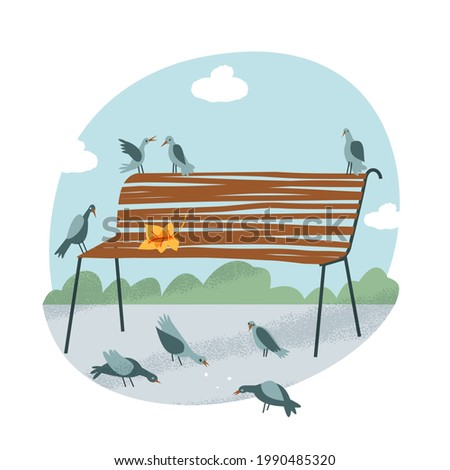 bench with birds in park on