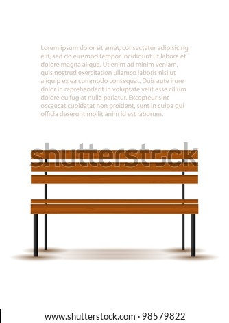 Bench with shadow isolated on white, vector illustration, eps10