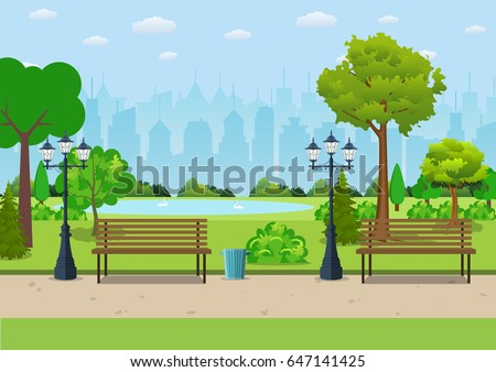 bench with tree and lantern in...