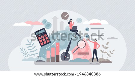 Benchmarking as business compare tool for improvement tiny person concept. Performance, quality and cost comparison to competitor companies vector illustration. Development strategy, plan and method.