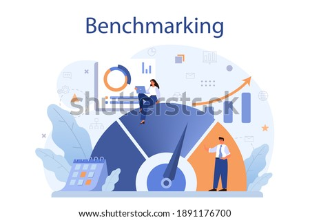 Benchmarking concept. Idea of business development and improvement. Compare quality with competitor companies. Isolated flat vector illustration