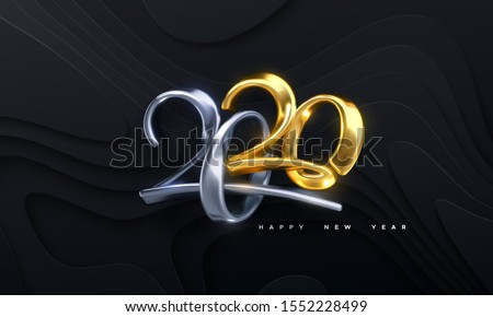Bended numbers 2020. Holiday vector illustration. Golden and silver metallic characters. Modern 3d calligraphy on black wavy papercut background. Happy New 2020 Year. Festive banner or sign design.