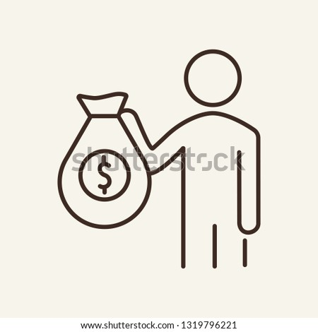Benefactor line icon. Man holding money bag. Volunteering concept. Can be used for topics like donation, help, finance