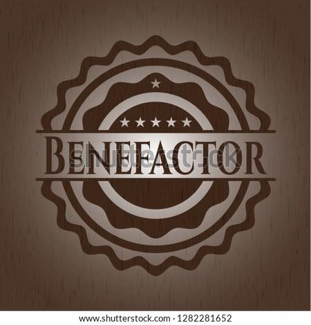 Benefactor vintage wooden emblem