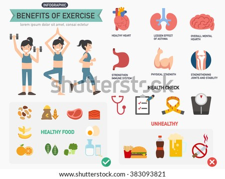 Benefits of exercise infographics.vector illustration.
