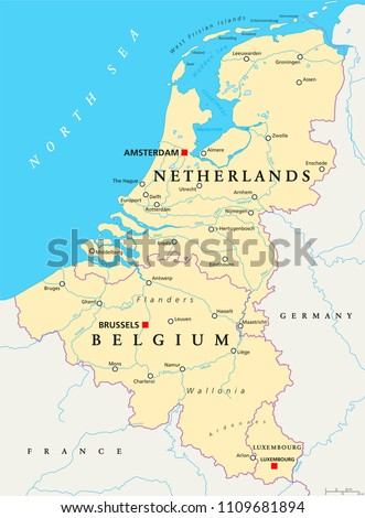 Benelux. Belgium, Netherlands and Luxembourg. Political map with capitals, borders and important cities. Benelux Union, a geographic, economic, cultural group. English labeling. Illustration. Vector.