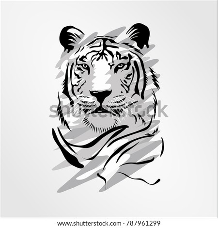 Stock Photo Bengal Cat Head tiger isolated on white. Predator rare animal with black stripes typical of Bengal tiger, but carries a white or near-white coat. Endangered wildlife mammal vector illustration