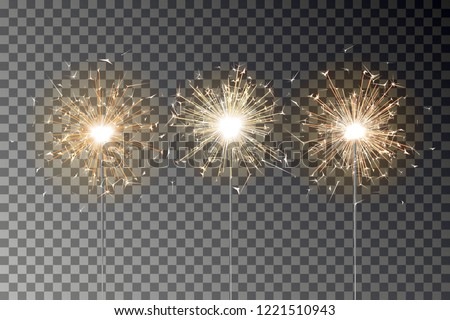 Bengal fire vector set. New year sparkler candle isolated on transparent background. Realistic sparkler. Magic light stick. Xmas decoration illustration.