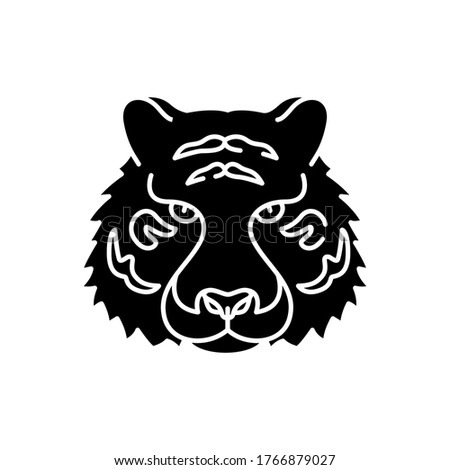 bengal tiger black glyph icon