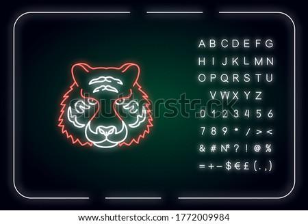 bengal tiger neon light icon