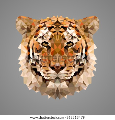 bengal tiger portrait low poly
