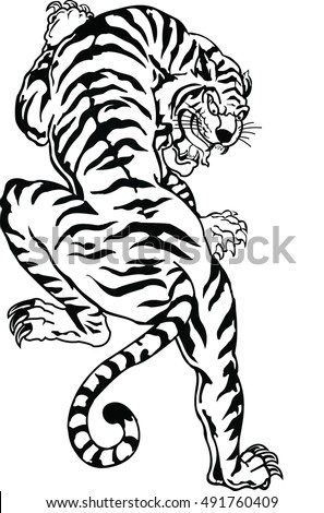 b5cb1a64a5e60 Vector Images, Illustrations and Cliparts: Bengal tiger tattoo ...