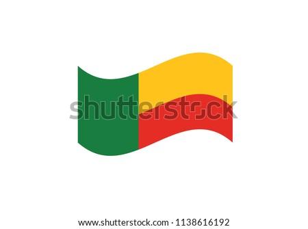 Benin flag waving national symbol coat of arms country emblem state sign