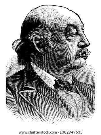 Benjamin Franklin Butler, 1818-1893, he was an American lawyer, politician, soldier, businessman, and governor of Massachusetts, and member of the U.S. house of representatives, vintage line drawing