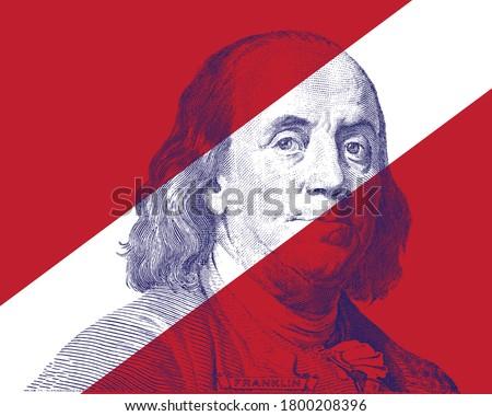 Benjamin Franklin Face on white stripe Stock photo ©