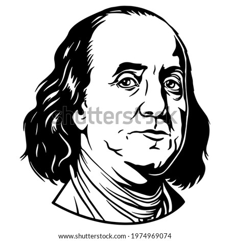 Benjamin Franklin portrait. Used for cutting files and printing Stock photo ©