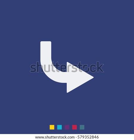 Bent arrow icon. Right arrow icon.