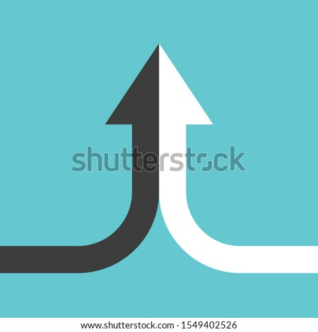 bent arrow of two black and