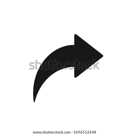 Bent arrow pointing right, Curved arrow share icon Foto d'archivio ©