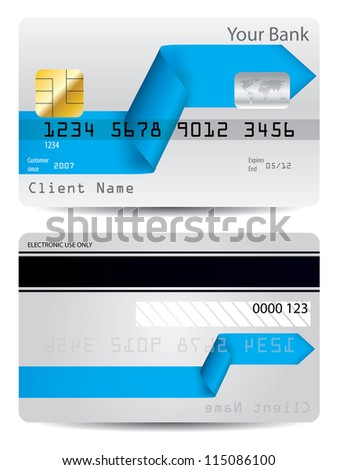 Bent blue arrow ribbon credit card design - stock vector