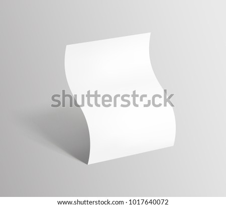 Bent empty paper sheet. A4 format paper with shadows on gray background. Magazine, booklet, postcard, flyer, business card or brochure mockup. Vector Illustration EPS10.