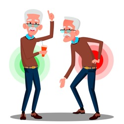 Bent Over Old Man From Back Ache, Sciatica Vector. Isolated Cartoon Illustration