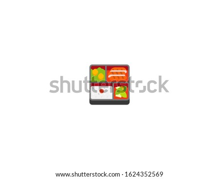 Bento box vector flat icon. Isolated bento asian lunch box emoji illustration
