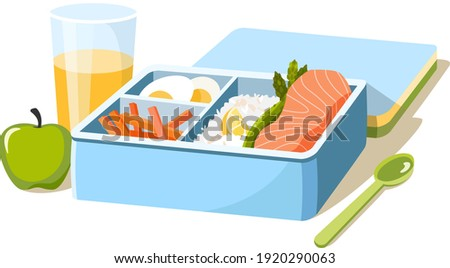 Bento lunch box with takeaway ready food. Salmon, rice, eggs, vegetables, juice, apple. Zero waste to go food in container. Vector illustration.