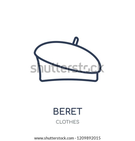 Beret icon. Beret linear symbol design from Clothes collection. Simple outline element vector illustration on white background.