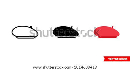 Beret icon of 3 types: color, black and white, outline. Isolated vector sign symbol. Сток-фото ©