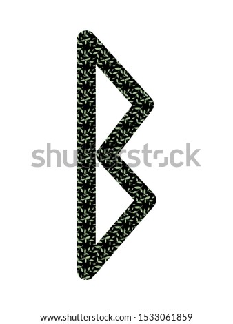 Berkana. Ancient Old Norse rune Futhark . Used in magic scripts, amulets, fortune telling. Scandinavian and Germanic writing. White background