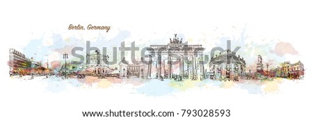 Berlin City skyline Capital of Germany. Watercolor splash with hand drawn sketch illustration in vector.