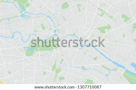 Berlin, Germany, printable map, designed as a high quality background for high contrast icons and information in the foreground.