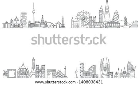 Berlin, London, Paris, Barcelona cities skylines. Line art illustration