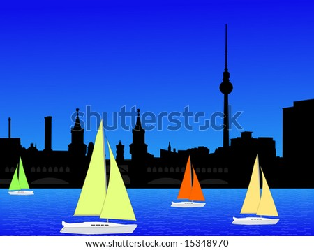 Berlin skyline and yachts with colorful sails illustration