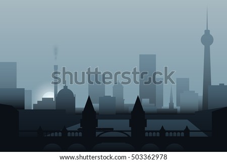 berlin skyline in the morning